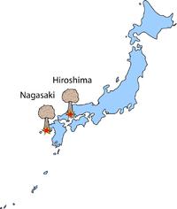 Хиросима Нагасаки карта Японии бомбардировка