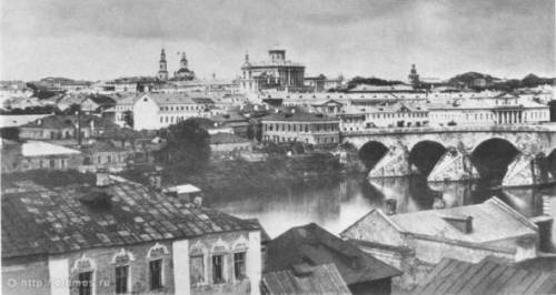 Москва 1855 старый Большой каменный мост